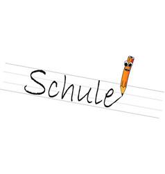 school with pencil in cartoon art in german vector image