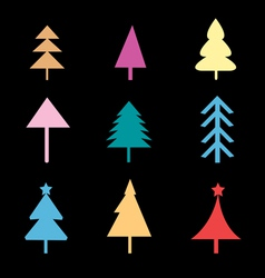 set different christmas trees signs vector image