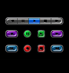 set glossy buttons for media player vector image