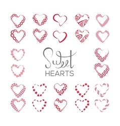 set of hearts vector image