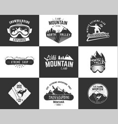 Set of snowboarding extreme logo and label vector