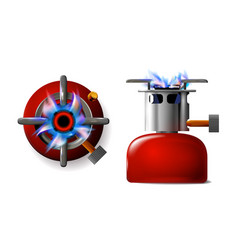 Set red tourist realistic portable gas burner vector