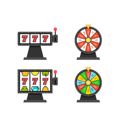 set wheels fortune and 777 slot machines vector image