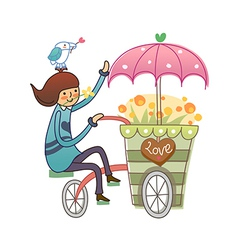 Side view of boy on cycle vector