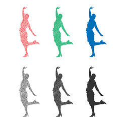 silhouette a beautiful dancing girl vector image
