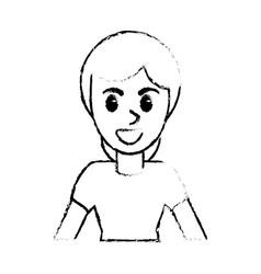 sketch woman portrait smling vector image