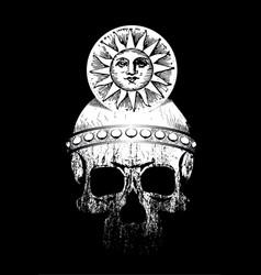 Skull with helmet and sun symbol vector