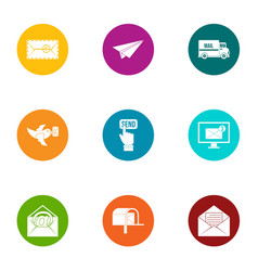 Submit icons set flat style vector