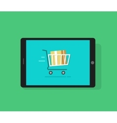 Tablet computer and full shopping cart moving vector image