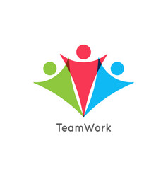 teamwork icon business team work union logo vector image