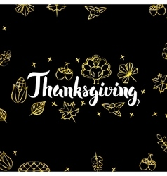 Thanksgiving Gold Black Postcard vector image