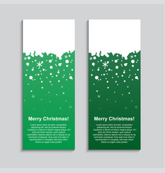 the vertical winter green banner stickers tag vector image