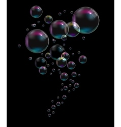 Transparent bubbles on black background vector