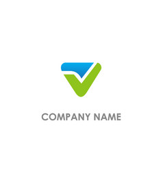 triangle v initial logo vector image