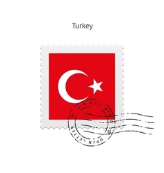 Turkey Flag Postage Stamp vector image
