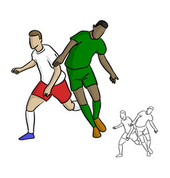 two soccer players playing in game vector image