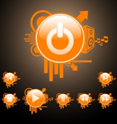 web and media buttons vector image