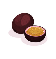 whole and half of passion fruit delicious vector image