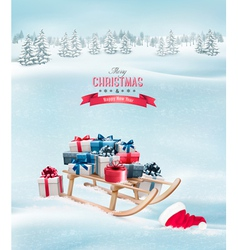 Winter background with christmas presents vector