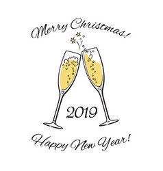 Wo sparkling glasses champagne 2019 merry vector