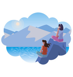 Women couple contemplating horizon in lake and vector