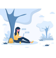 Womens freelance girl with laptop sitting in park vector