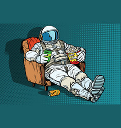 astronaut the audience with beer and popcorn vector image vector image