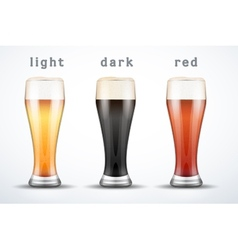 Beer mugs with three brands vector image