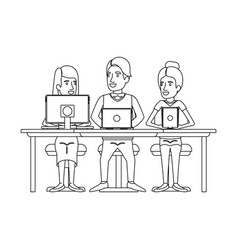 Monochrome silhouette of teamwork sitting in desk vector