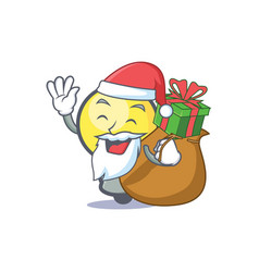 Santa light bulb character cartoon with gift vector