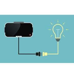virtual reality glasses connected to light bulb vector image vector image
