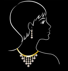 woman in jewelry vector image