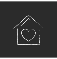 House with heart symbol icon drawn in chalk vector image