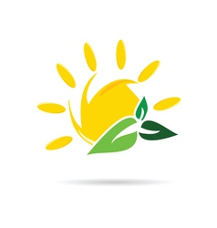 sun icon with leaf color vector image