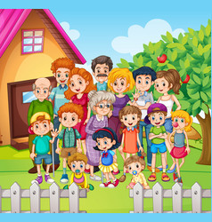 Family members standing in the yard vector image vector image