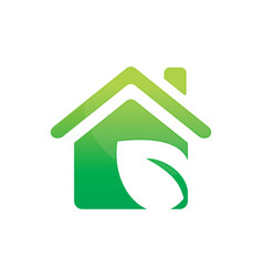 leaf house ecology logo vector image