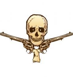 skull guns vector image vector image