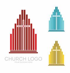 Stylish cross of jesus christ among graphic vector