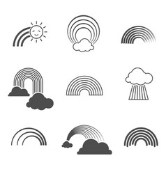 black and white rainbow icons summer vector image vector image