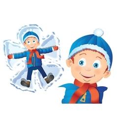Boy making snow angel vector image