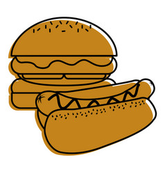 burger and hot dog fast food diet vector image