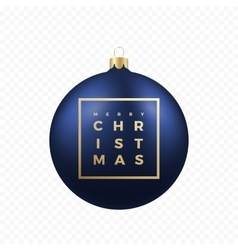 Christmas Greetings Sticker or Banner Blue Ball vector image vector image
