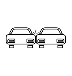 crashed cars black color icon vector image vector image