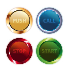 Metal colorful round buttons vector