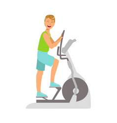 young man working out using elliptical trainer vector image vector image