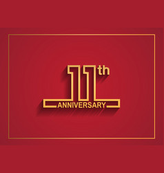 11 anniversary design with simple line style vector