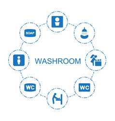 8 washroom icons vector