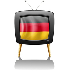 A German flag inside a television vector image