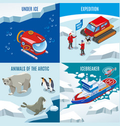Arctic research isometric design concept vector
