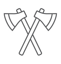 Axes thin line icon weapon hatchet crossed axes vector